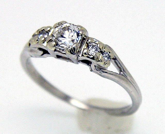 Vintage Platinum Diamond Engagement Ring 74900 1950s wedding ring